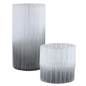 Como White and Dark Gray Vases, Set of 2