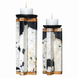 Illini Wood and Black Candle Holder, Set of 2