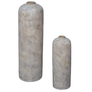 Villa White Wash Vase, Set of 2