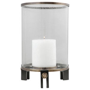 Faraday Antique Brushed Brass and Aged Black Hurricane Candleholder