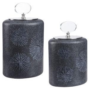 Floral Black and Charcoal Glazes Burst Bottles, Set of 2