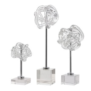 Neuron Polished Nickel Glass Table Top Sculptures, Set of 3