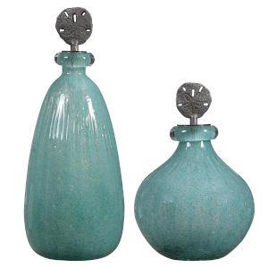 Mellita Aqua Blue Glass Bottles, Set of 2