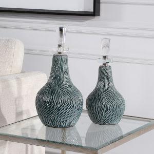Almera Teal and Polished Nickel Bottles, Set of 2