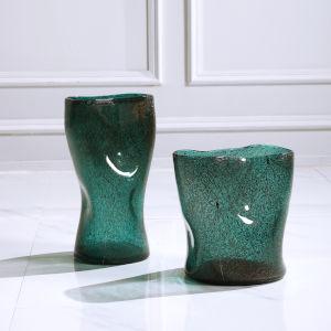 Lulu Aqua Blue Glass Vases, Set of 2