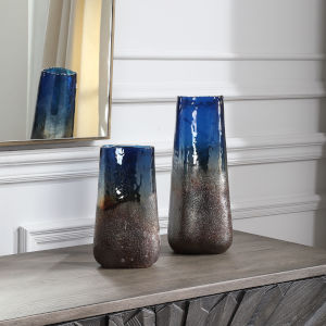 Capri Blue and Copper Glass Vases, Set of 2