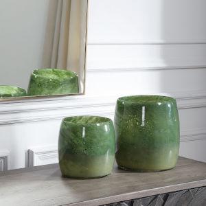 Matcha Green Glass Vases, Set of 2