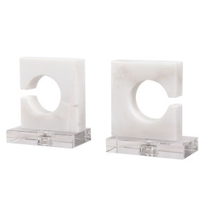 Clarin White and Gray Bookends, Set of 2