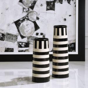 Amhara Black and White Vases, Set of 2