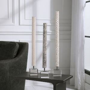 Makira Black and White Cylindrical Sculptures, Set of 3