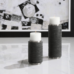 Strathmore Gray Candleholders, Set of 2