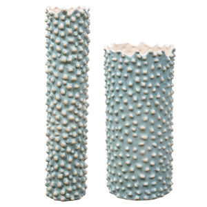 Ciji Aqua Ceramic Vases, Set of 2