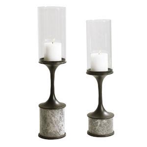 Deane Dark Gunmetal and Smoke Gray Marble Candleholder, Set of 2