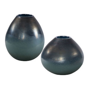 Rian Bronze and Aqua Vase, Set of 2