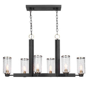 Jarsdel Black 6-Light Kitchen Island Chandelier