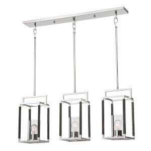 Newburgh Polished Nickel Three-Light Linear Pendant