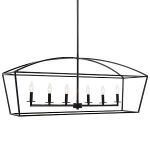 Clayton Deep Weathered Bronze Six-Light Linear Chandelier