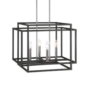 Quadrangle Black and Polished Nickel Four-Light Pendant