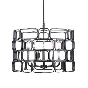 Becton Matte Black and Polished Nickel Five-Light Pendant
