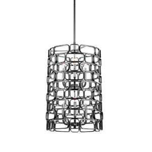 Becton Matte Black and Polished Nickel Six-Light Pendant