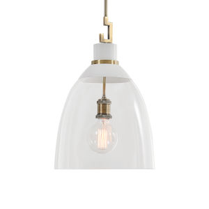Evangeline Aged Brass and White One-Light Pendant