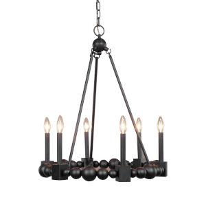 Randers Black 6-Light Chandelier