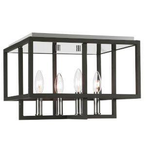 Quadrangle Black and Polished Nickel Four-Light Flush Mount