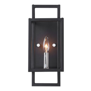 Quadrangle Black and Polished Nickel One-Light Wall Sconce