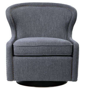 Biscay Dark Charcoal Gray Swivel Chair