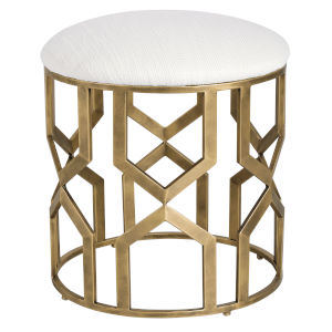 Trellis Antique Brushed Brass 18-Inch Geometric Accent Stool