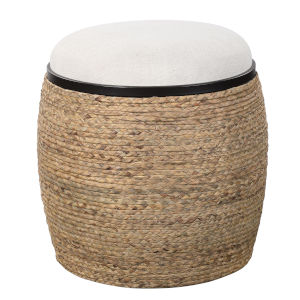 Island Matte Black and Beige 19-Inch Accent Stool