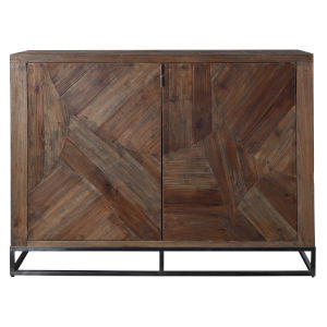 Evros Aged Gunmetal Reclaimed Wood 2 Door Cabinet