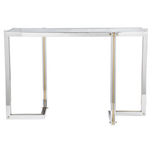 Locke Polished Nickel and Polished Gold Console Table