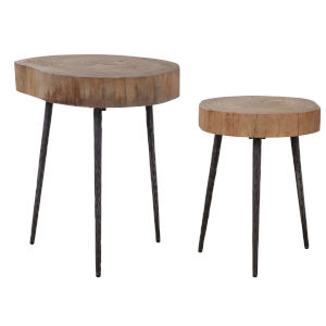 Samba Aged Steel Nesting Table, Set of 2