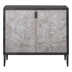 Laurentia Light Gray and Oak Cabinet