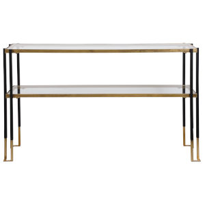 Kentmore Black and Brushed Gold 54-Inch Console Table