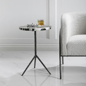 Fine Line Black and White Round Accent Table