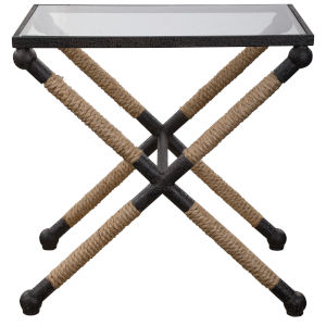 Braddock Black, Brown and Clear 16-Inch Coastal Accent Table