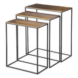 Coreene Aged Black Nesting Table, Set of 3
