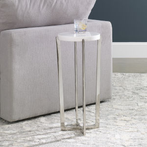 Waldorf White Marble Drink Table