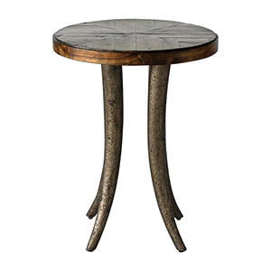 Ezra Bronze and Woodtone Accent Table