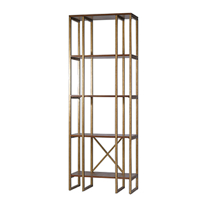 Karishma Gold and Woodtone Etagere