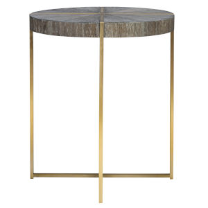 Taja Brushed Brass Round Accent Table