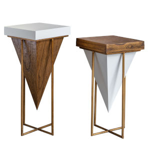 Kanos Gloss White and Walnut End Table, Set of 2