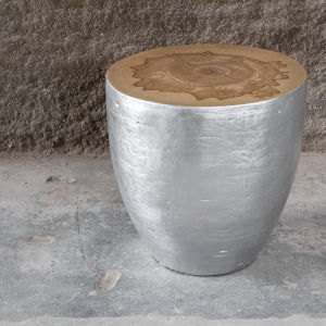 Gannett Silver Leaf Wood End Table