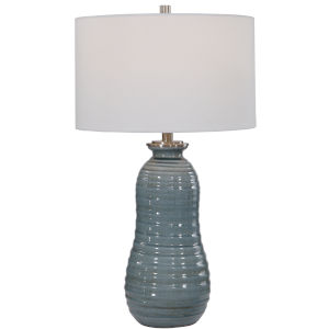 Zaila Brushed Nickel and Light Blue Table Lamp