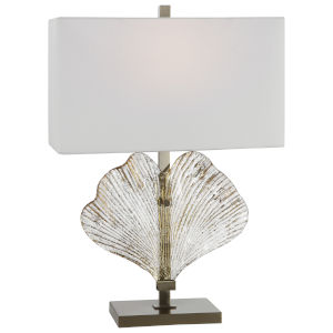 Anara Brushed Nickel Glass Leaf Table Lamp