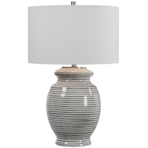 Marisa Brushed Nickel and Off-White Table Lamp