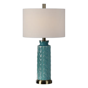 Serres Nickel and Blue One-Light Table Lamp, Set of 2