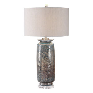 Olesya Brushed Nickel Swirl Glass Table Lamp